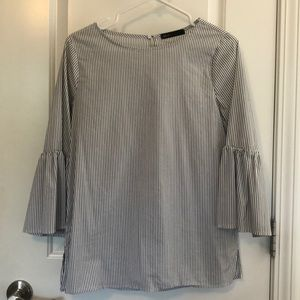 Gibson H&M Blue and White Striped Blouse- Small